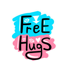 free hugs lettering vector image