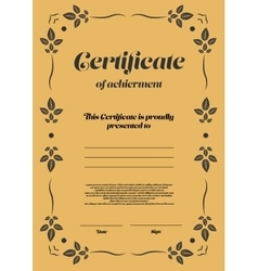 Gold vertical certificate template vector image