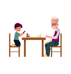 Grandfather playing chess with his grandson boy vector