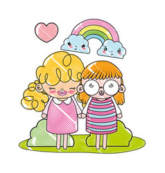 Grated nice girls with rainbow and kawaii clouds vector