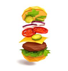 hamburger flying ingredients vector image