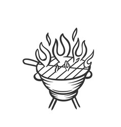 Hand drawn grill icon vector