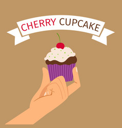 Hand holding cupcake with cherry vector
