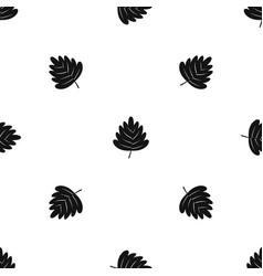 Hawthorn leaf pattern seamless black vector