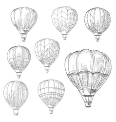 Hot air balloons in flight retro sketches vector