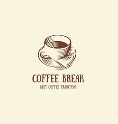 isolated abstract brown color coffee cup logo vector image