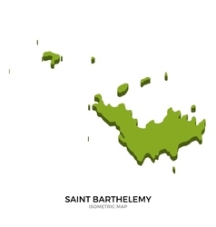 Isometric map of Saint Barthelemy detailed vector image