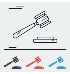 Line icon court hammer vector