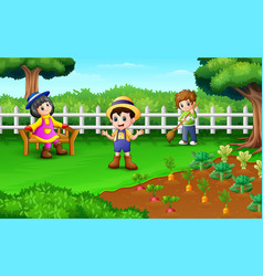 little farmers an activity in the farm vector image