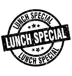 Lunch special round grunge black stamp vector