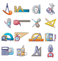 Measuring instrument icons set cartoon style vector