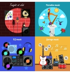 Melody And Instruments Banners Set vector