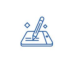 Mobile signature line icon concept mobile vector