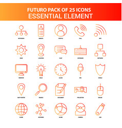 orange futuro 25 essential element icon set vector image