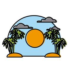Palms on sunset landscape vector