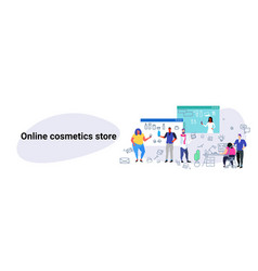 people doing online shopping men women choosing vector image