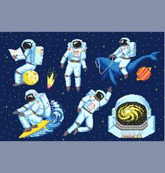 Pixel art astronaut spaceman 8 bit objects space vector
