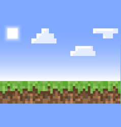 pixel minecraft style land background concept of vector image