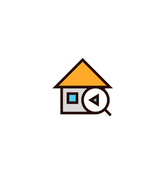 Previous house search icon home with magnifying vector