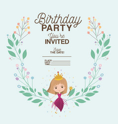 Princess with floral decoration invitation card vector