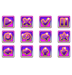 purple square collection set glass buttons vector image