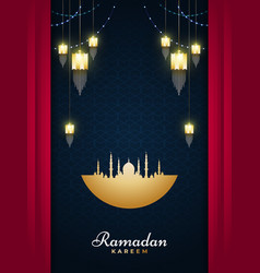 Ramadan kareem greeting card with golden lanterns vector