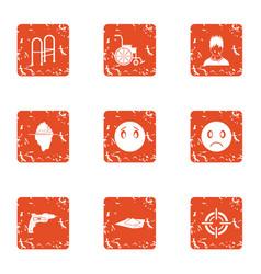 Rehabilitation icons set grunge style vector