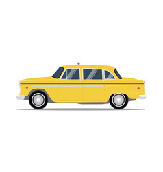retro yellow taxi cab side view vector image