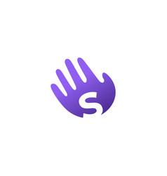 S letter hand palm hello logo icon vector