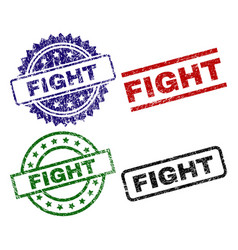 scratched textured fight stamp seals vector image