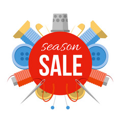 Season sale sign with sewing stuff vector