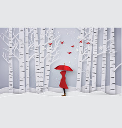 Season with the girl open red an umbrella paper vector