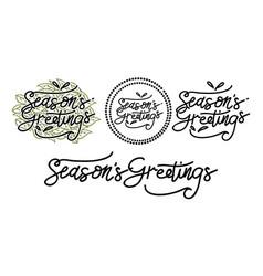seasons greetings template set vector image