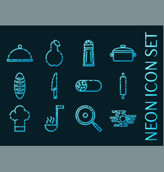set cooking blue glowing neon icons vector image