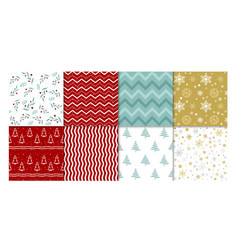 set winter patterns vector image