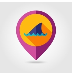 Shark fin flat mapping pin icon with long shadow vector