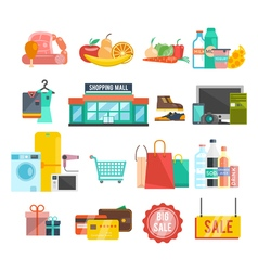 Shopping center icons vector