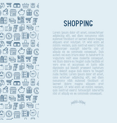 shopping concept with thin line icons vector image