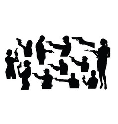 silhouettes a person holding a gun vector image
