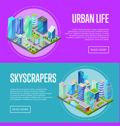 Skyscrapers in downtown banners set vector