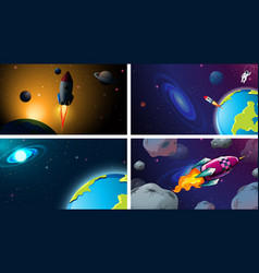 Space background scene set vector