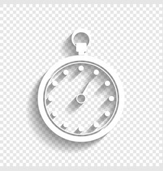 Stopwatch sign white icon vector