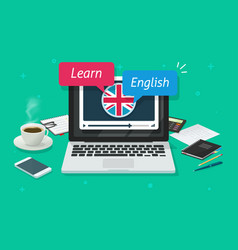study english online on laptop computer or vector image