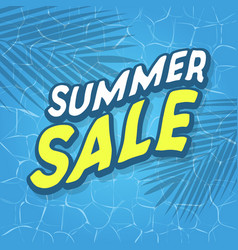 summer sale text with sea or pool surface vector image