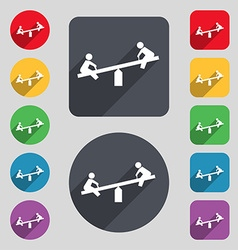 swing icon sign A set of 12 colored buttons and a vector image