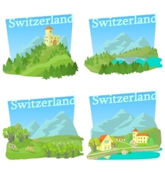 Switzerland travel concepts set cartoon style vector image