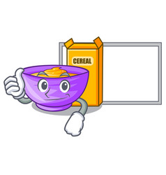 Thumbs up with board cereal box in a cartoon bowl vector