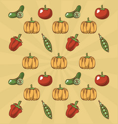 Tomato pumpkin and peas background vector