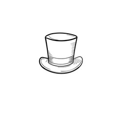 Top hat hand drawn sketch icon vector
