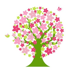 Tree With Color Flowers vector